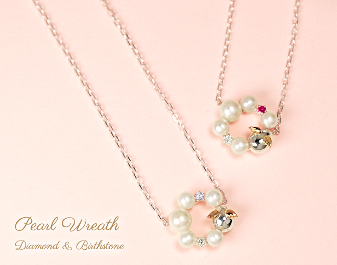ネックレス 天然パール ダイヤモンド 誕生石 リース