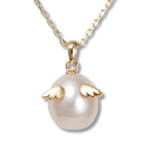 天使の卵 天然パール ネックレス 10金