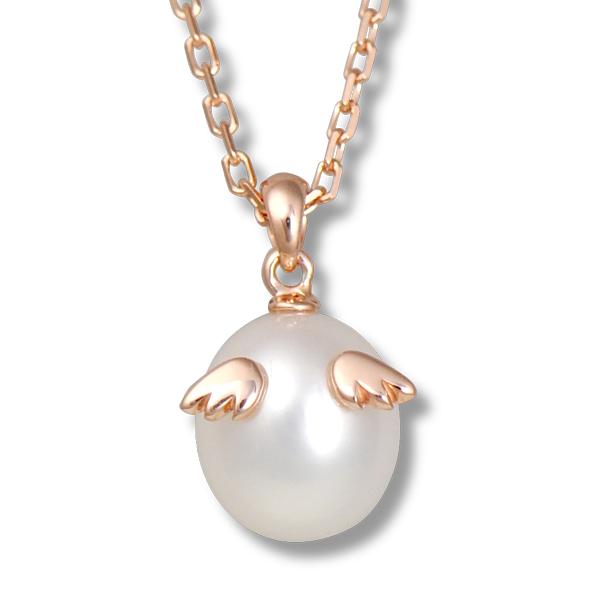 天使の卵 天然パール ネックレス ピンクゴールド加工